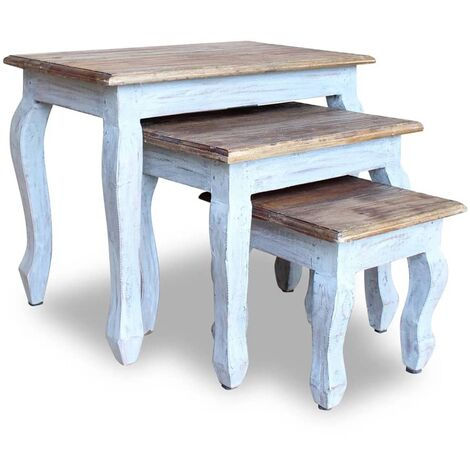 Nesting Table Set 3 Pieces Solid Reclaimed Wood - Brown