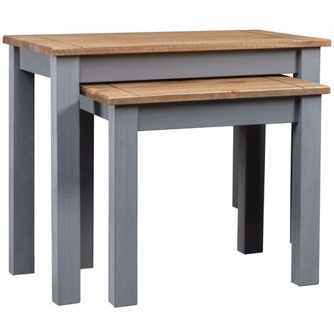Nesting Tables 2 pcs Grey Solid Pine Wood Panama Range - Grey