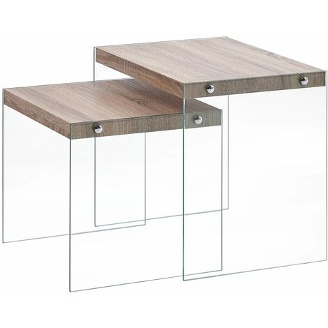 Nesting Tables 2 pcs Oak MDF - Brown