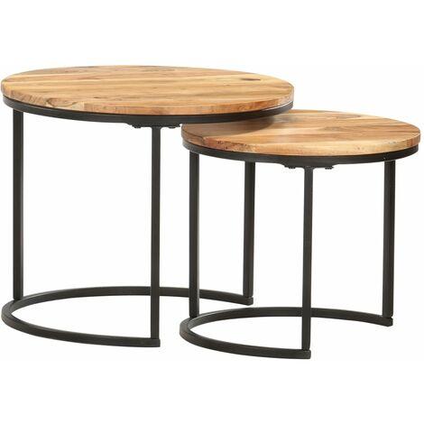 Nesting Tables 2 pcs Solid Acacia Wood - Brown