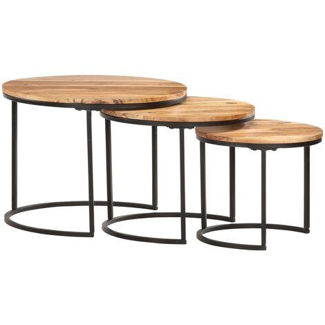 Nesting Tables 3 pcs Solid Acacia Wood - Brown