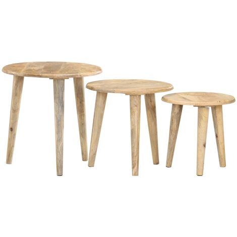 Nesting Tables 3 pcs Solid Mango Wood