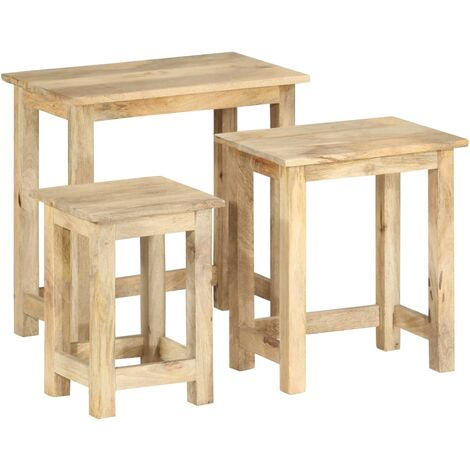 Nesting Tables 3 pcs Solid Mango Wood - Brown
