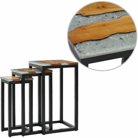 Nesting Tables 3 pcs Solid Teak Wood and Polyresin - Brown