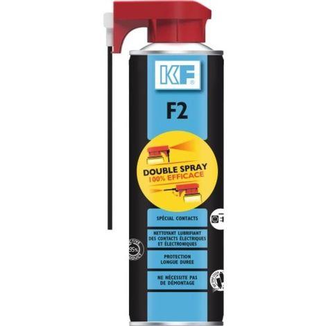 Nettoyant et lubrifiant F2 spécial contacts mobiles électriques et électroniques aérosol Double Spray de 500ml net