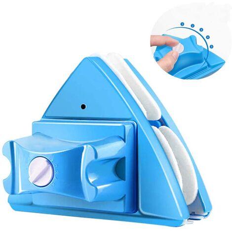 Nettoyant pour vitres double face essuie-glace en verre outils de nettoyage magnétiques, outils de brosse de lavage de planeur magnétique réglable à 5 vitesses bleu