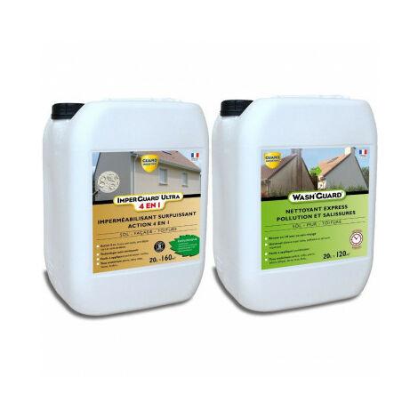 Nettoyer et imperméabiliser - Pack Wash'Guard 20L + Imperguard Ultra (4 en 1) 20L - Nettoyage et protection de plus de 160m²