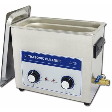 Nettoyeur à ultrasons analogique acier inoxydable professionnel 270 watts 6 litres