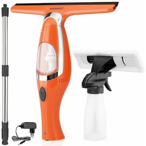 Nettoyeur de vitres électrique sans fil aspirateur à vitre raclette flacon pulvérisateur bonnette microfibre tige télescopique