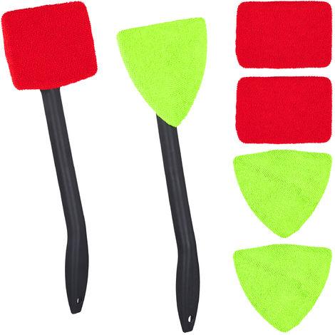 Nettoyeur vitres de voitures intérieur, jeu de 2, brosse avec poignée, pour Pare-brise, 6 chiffons microfibre