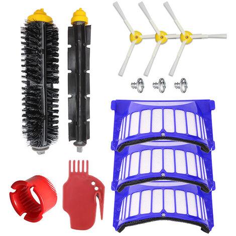 Neuf pieces d'accessoires pour balayeuse Irobot (brosse laterale * 3 brosse principale, brosse ronde, peigne plat, tamis filtrant * 3) pour la serie 600
