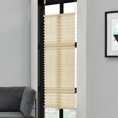 [neu.haus] Cortina plisada (45x100cm) Protector de luz y de sol - opaca - no hace falta taladro - crema
