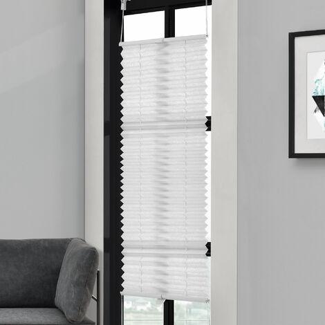 [neu.haus] Cortina plisada (70x125cm) Protector de luz y de sol - opaca - no hace falta taladro - blanca