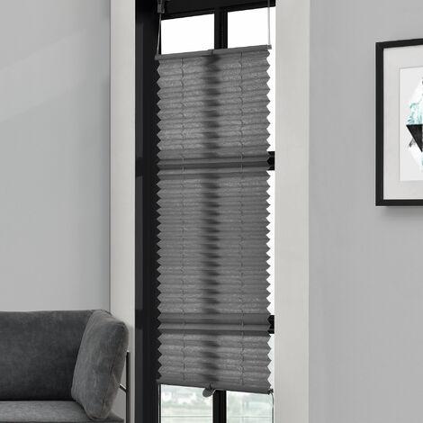 [neu.haus] Klemmfix Plissee (35 x 100 cm) (schwarz) - Sonnen- und Lichtschutz - blickdicht (Bohren entfällt)