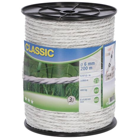 Neutral Electric Fence Rope Classic 200m White
