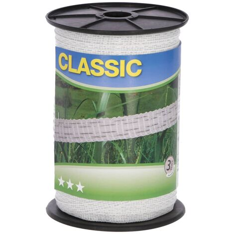 Neutral Electric Fence Tape Classic 200m 10mm White - White