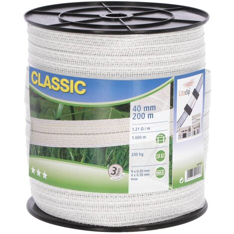 Neutral Electric Fence Tape Classic 200m 40mm White - White