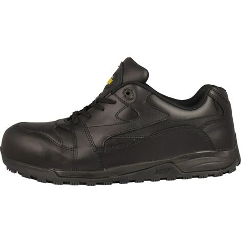Nevada Black Slip-Resistant Safety Trainers