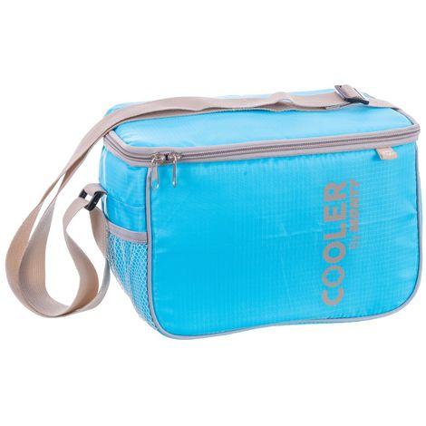 Nevera portátil de 7,5 litros azul de poliéster y peva de 17x17x26 cm