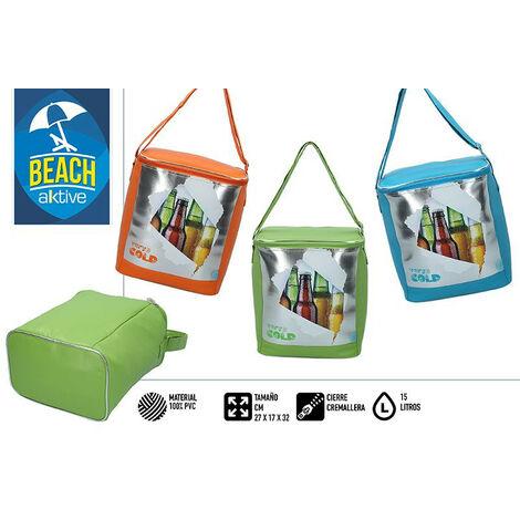 "Nevera Portátil Playa, Bolsa Isotérmica. Cierre Cremallera 15 litros ""Very cold"" 27x17x32 cm Color - Verde"