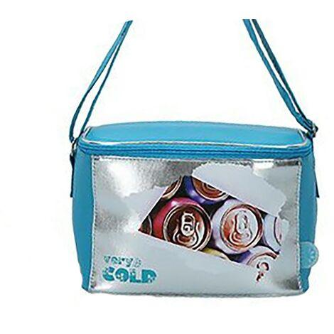 Nevera Portátil Playa, Bolsa Isotérmica. Cierre Cremallera 5 litros Very cold 24x15x16 cm Azul claro