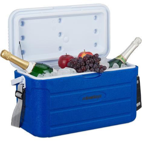 Nevera Portátil, Refrigerador Playa Camping, sin Electricidad, Plástico, 20 l, 29,5 x 52,2 x 26,5 cm, Azul