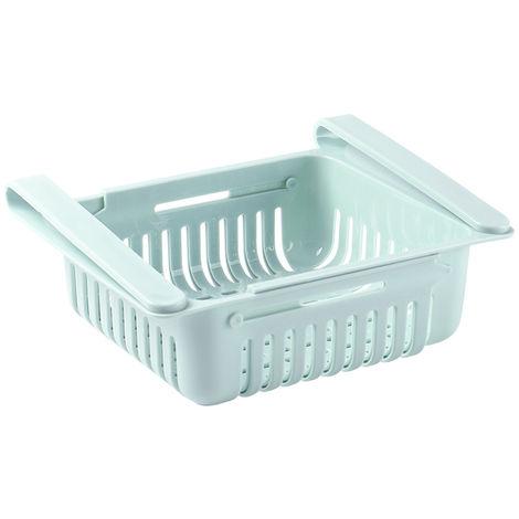 Nevera retractil Organizador Gaveta que se extrae Frigorifico Clip en el Bajo canasto para estante de la cocina para guardar adapta para el refrigerador estante bajo 0,43 pulgadas, Azul