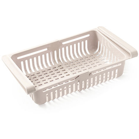 Nevera retractil Organizador Gaveta que se extrae Frigorifico Clip en el Bajo canasto para estante de la cocina para guardar adapta para el refrigerador estante bajo 0,43 pulgadas, Beige
