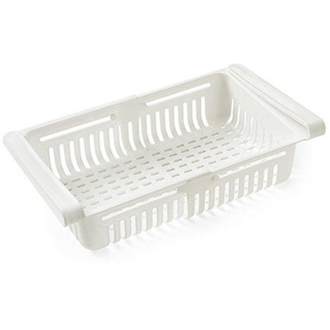Nevera retractil Organizador Gaveta que se extrae Frigorifico Clip en el Bajo canasto para estante de la cocina para guardar adapta para el refrigerador estante bajo 0,43 pulgadas, blanca