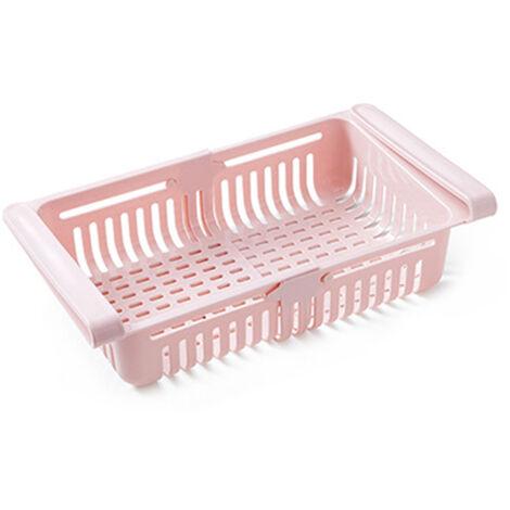 Nevera retractil Organizador Gaveta que se extrae Frigorifico Clip en el Bajo canasto para estante de la cocina para guardar adapta para el refrigerador estante bajo 0,43 pulgadas, color de rosa