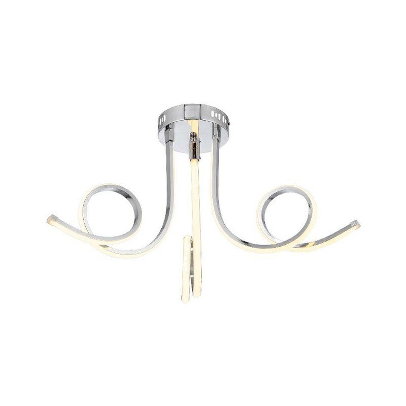 Nevro Deckenlampe - Deckenleuchte - von der Wand - Chrom aus Metall, Kristall, 45 x 45 x 33 cm, 3 x LED, 16W, 2560, 3000K
