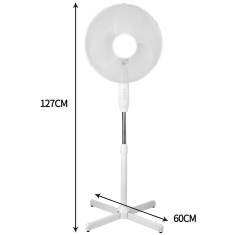 "New 16"" Electric Fan Pedestal Oscillating Floor Standing 3 Speed Setting White"