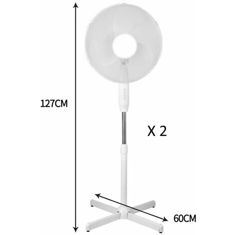 """New 16"""" Electric Fan Pedestal Oscillating Floor Standing 3 Speed Setting White x 2"""