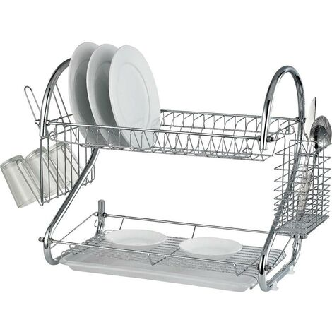 NEW 2 TIER CHROME PLATE DISH CUTLERY CUP DRAINER RACK DRIP TRAY PLATES HOLDER4