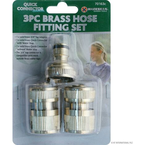 """main image of """"NEW 3PC BRASS HOSE PIPE FITTING CONNECTORS GARDEN TAP SPRAY SOLID WATER SET"""""""