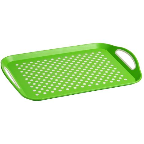 New anti-slip serving tray,pp & tpe,green with white dots