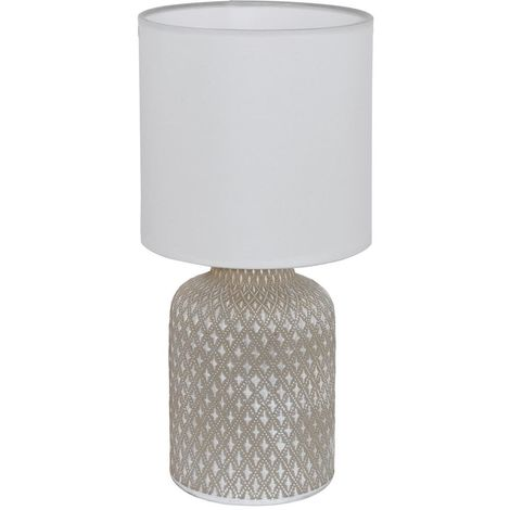 New Bellariva Ceramic Taupe Table Desk Lamp , White Fabric Shade In Line Switch