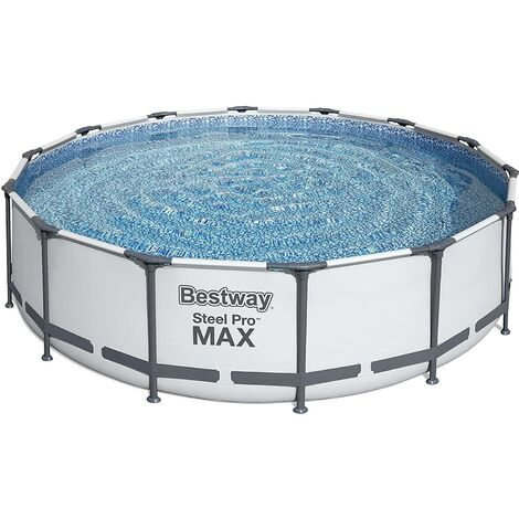 """main image of """"NEW BESTWAY STEEL PRO MAX ROUND FRAME SWIMMING POOL WITH FILTER PUMP GREY 14FT"""""""