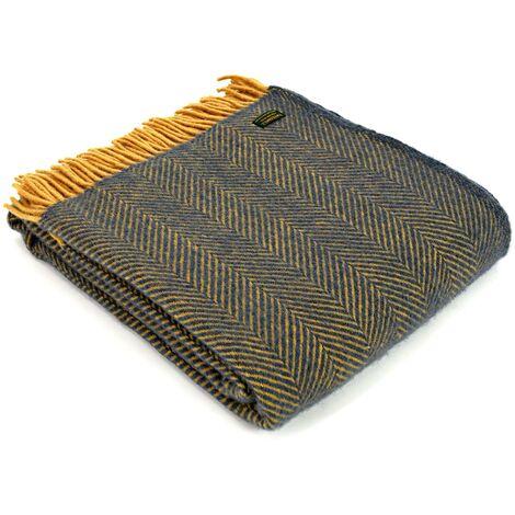 New Blue / Mustard Herringbone Wool Tweedmill Blanket