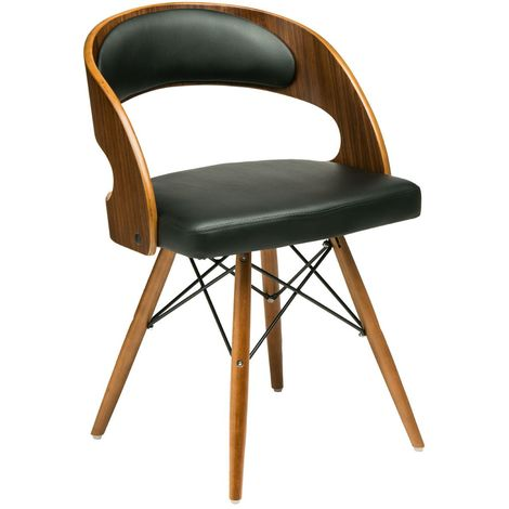 New chair,walnut veneer,black leather effect