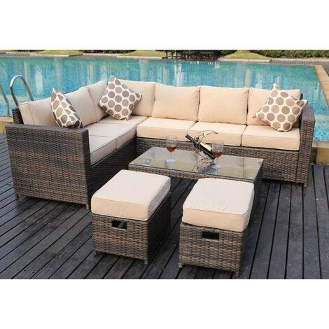 NEW Conservatory MODULAR 8 Seater Rattan Corner Brown Sofa Set Garden Furniture