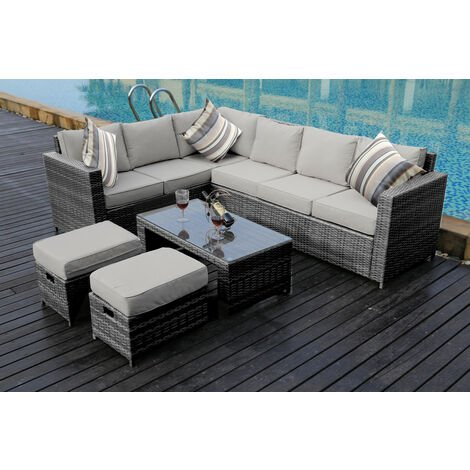 NEW Conservatory MODULAR 8 Seater Rattan Corner Grey Sofa Set Garden Furniture