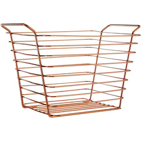 New Design Shine Wire Basket, Iron, Rose Gold