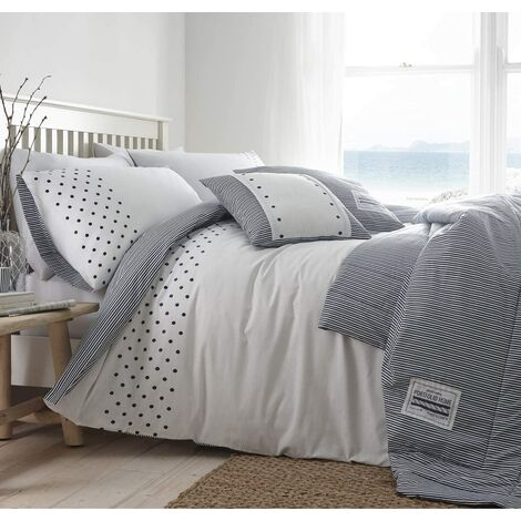 New England King Size Duvet Cover Set Navy Nautical Stripes And Polka Dots