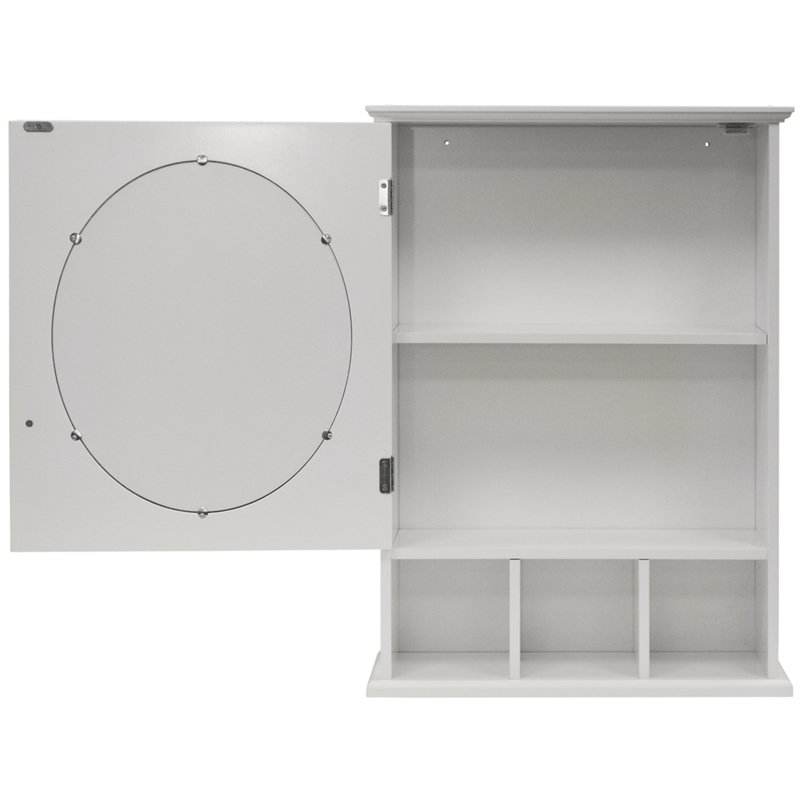 White Mirror Bathroom Wall Storage Cabinet with Shelves  BA1703