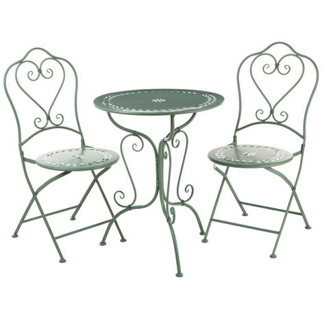 New finchwood jardin 3piece green table set,wrought iron