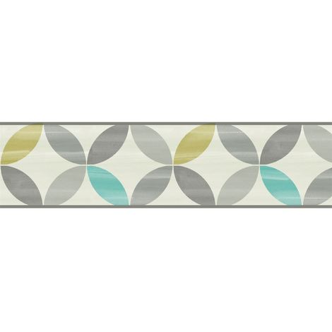 New K2 Segment Pattern Wallpaper Border Lime Grey White Blue Smooth Modern