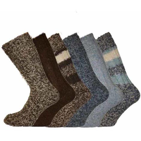 New Mens SHORT WOOL Mix work gardening BOOT Socks 3pk, Grey Marl, UK 6-11 Eur 39-45,