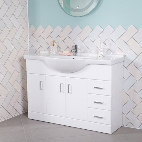 New Modern Gloss White Bathroom Vanity Unit Cabinet & Basin Sink