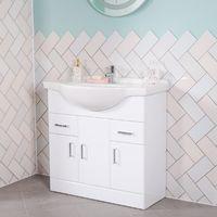 New Modern Gloss White Bathroom Vanity Unit Cabinet & Basin Sink